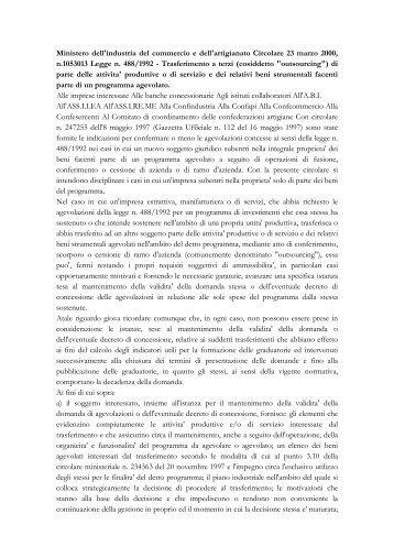 Circolare 23 marzo 2000, n. 1053013 del Ministero dell'industria del ...