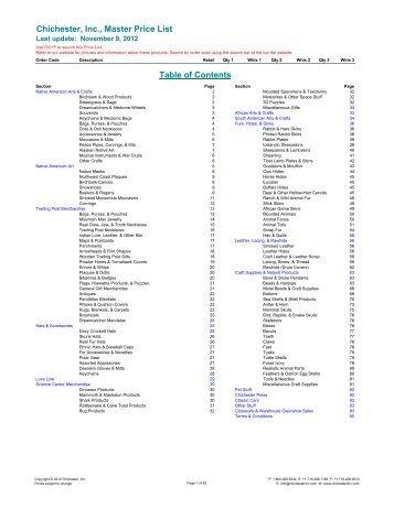 Chichester, Inc., Master Price List