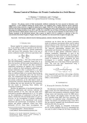 Plasma Control of Methane-Air Premix Combustion in a Swirl Burner