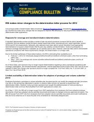 IRS makes minor changes to the determination letter process for 2012