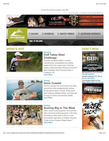 Issue 297 - July 30, 2013 - Outdoor Channel