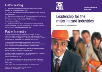 Leadership for the major hazard industries - CTR training and ...