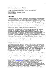 Two practical examples of issues in Internet governance - DOIs