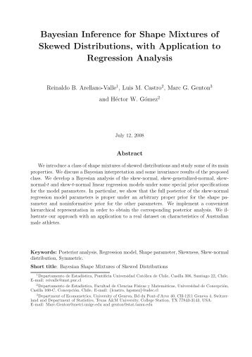Bayesian Inference for Shape Mixtures of Skewed Distributions, with ...