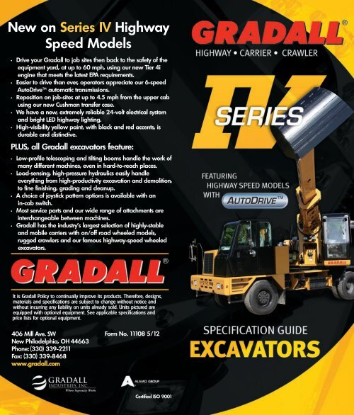Gradall Excavator Specification Guide - Gradall Industries, Inc