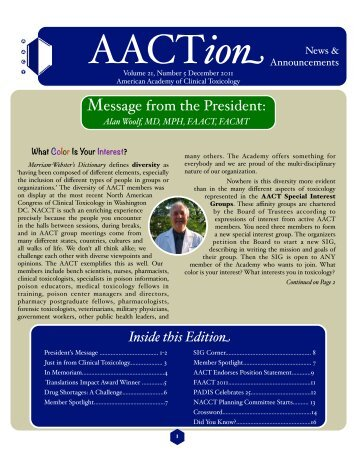 AACT December 2011 - The American Academy of Clinical Toxicology