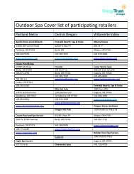 Outdoor Spa Cover list of participating retailers - Hot Tub Works