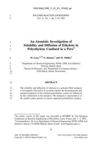 An Atomistic Investigation of Solubility and Diffusion of Ethylene in ...