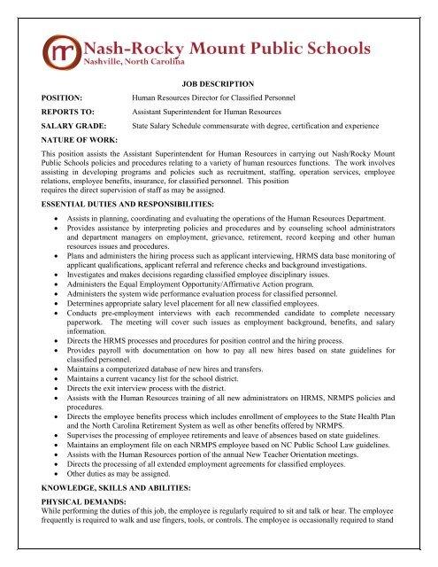 JOB DESCRIPTION POSITION - Nash-Rocky Mount Schools