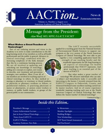 AACTa August 2011 - The American Academy of Clinical Toxicology