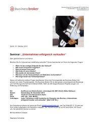 """Seminar: """"Unternehmen erfolgreich verkaufen"""" - Business Broker ..."""