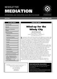 Mediation Newsletter (International Bar Association ... - Jon Lang