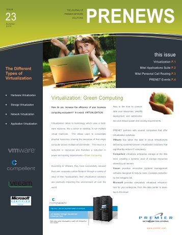 Summer 2010 Newsletter - Premier Network Solutions, Inc.