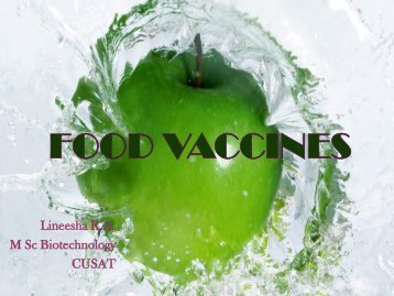 FOOD VACCINES - (CUSAT) – Plant Biotechnology laboratory