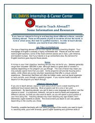 Want to Teach Abroad?? - UC Davis / Internship and Career Center