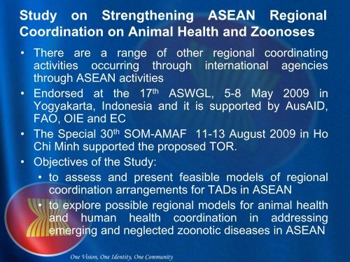 ASEAN Cooperation on Animal Health - OIE Asia-Pacific