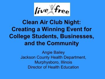 Clean Air Club Night - 2003 National Conference on Tobacco or ...