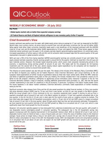 WEEKLY ECONOMIC BRIEF – 20 July 2012 Chief ... - LGsuper
