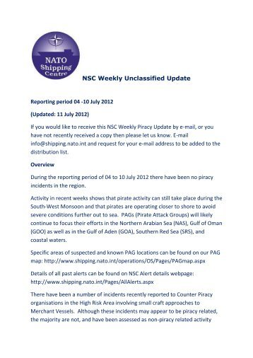 Weekly Piracy Update 04 -10 July 12 - NATO Shipping Centre