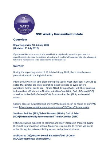 NSC Weekly Piracy Update 18-24 July 2012 - NATO Shipping Centre