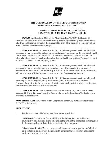 Business Licensing - City of Mississauga