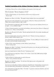 English Translation of the Afghan Christian Calendar - Year 1391