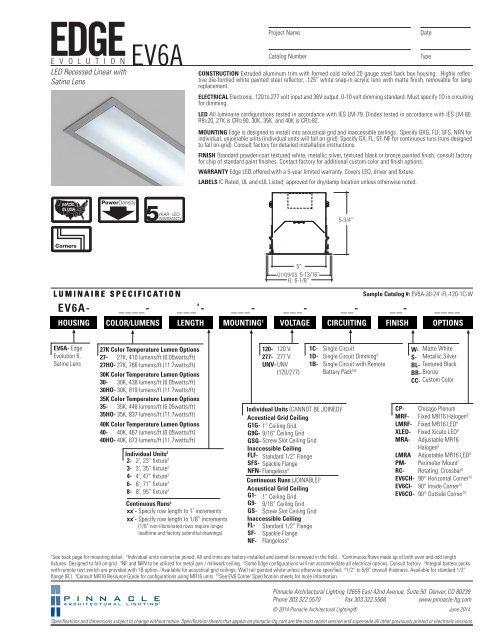 Ev6a Pinnacle Architectural Lighting