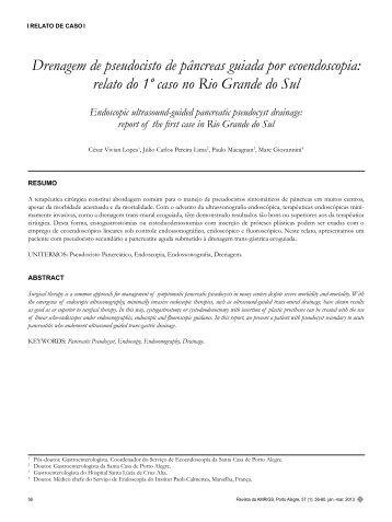 Drenagem de pseudocisto de pâncreas guiada por ecoendoscopia ...