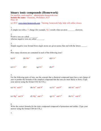 Ionic Compound Formula Writing Worksheet