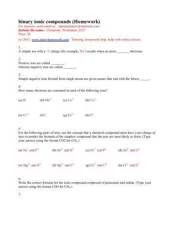 binary ionic compounds (Homework) - Tutor-Homework.com