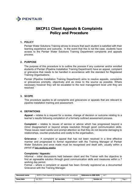 SKCP11 Client Appeals & Complaints Policy and Procedure - Pentair