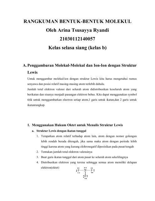 Rangkuman Bentuk Bentuk Molekul Oleh Arina Tsusayya