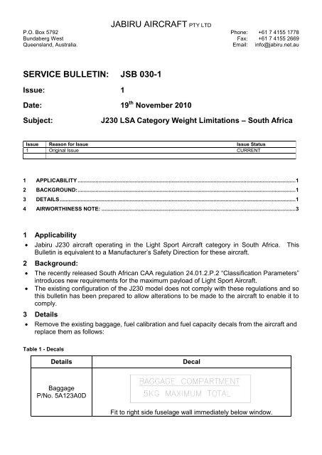 JSB030-1 LSA Category Weight Limitations - South Africa - Jabiru