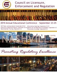 September 23-25, 2010 - Council on Licensure, Enforcement and ...