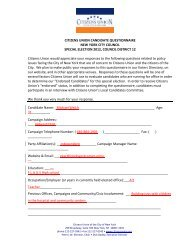 CITIZENS UNION CANDIDATE QUESTIONNAIRE NEW YORK CITY ...