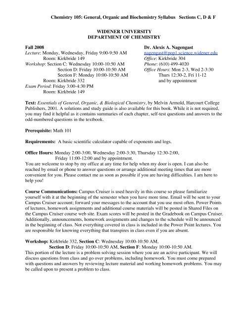 Chemistry 105: General, Organic and Biochemistry Syllabus