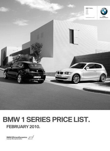 BMW 1 SERIES PRICE LIST. FEBRUARY 2010.