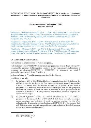 règlement (UE) n° 10/2011 de la Commission