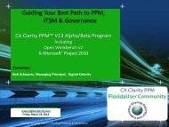 CA Clarity PPM v13 Alpha/Beta Partner Program - Digital Celerity