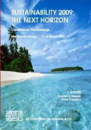 Sustainability 2009: The Next Horizon - College of Science - Florida ...
