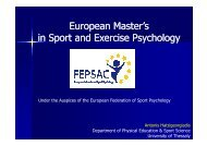 E M t ' E M t ' European Master's in Sport and Exercise Psychology