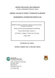 centre for ecology and hydrology imperial college of science ... - GEMS