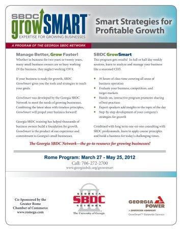 Smart Strategies for Profitable Growth - Georgia Small Business ...