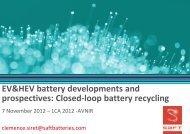 EV Battery developments and prospective close loop recycling - avniR