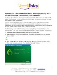Installing the French edition of Dragon NaturallySpeaking - VocaLinks
