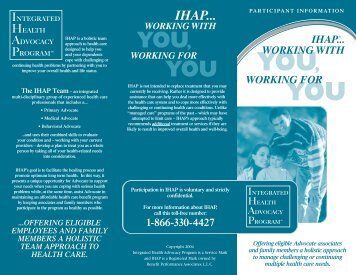 IHAP... Working with You - Advocate Benefits