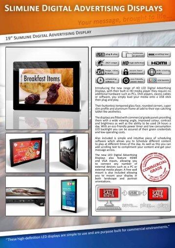 """19"""" Slimline Digital Advertising Display"""