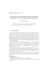 FUNCTIONAL INEQUALITIES CONNECTED WITH A DERIVATION ...