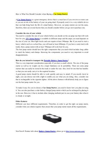 Here is What You Should Consider when Buying a Car Jump Starter.pdf