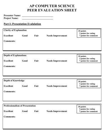 Global Village Peer Evaluation Form